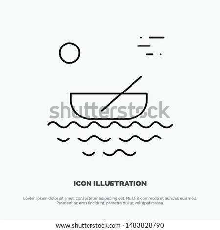 Boat, Canoes, Kayak, River, Transport Line Icon Vector