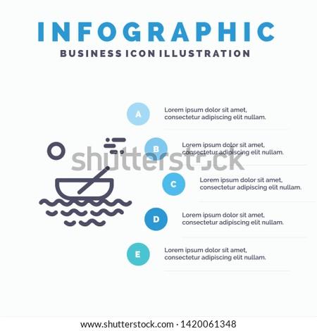 Boat, Canoes, Kayak, River, Transport Line icon with 5 steps presentation infographics Background