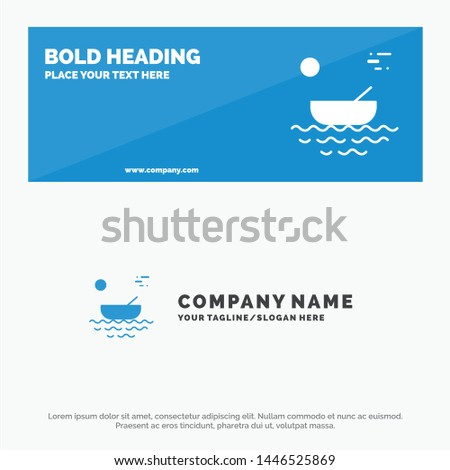 Boat, Canoes, Kayak, River, Transport SOlid Icon Website Banner and Business Logo Template
