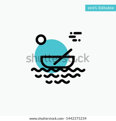 Boat, Canoes, Kayak, River, Transport turquoise highlight circle point Vector icon