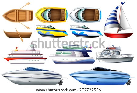 Boat collection isolated on white