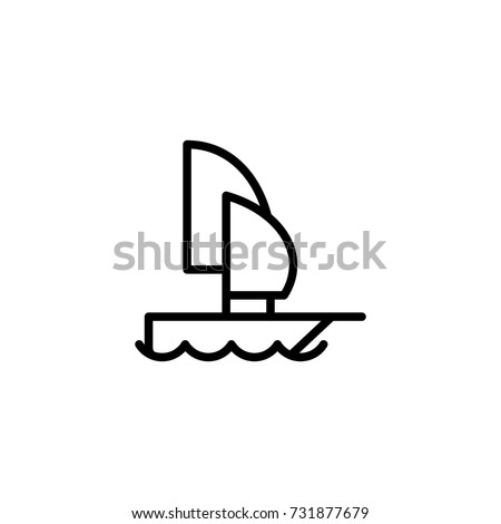 Boat flat icon. Single high quality outline symbol of water for web design or mobile app. Thin line signs of swimming for design logo, visit card, etc. Outline logo of sport