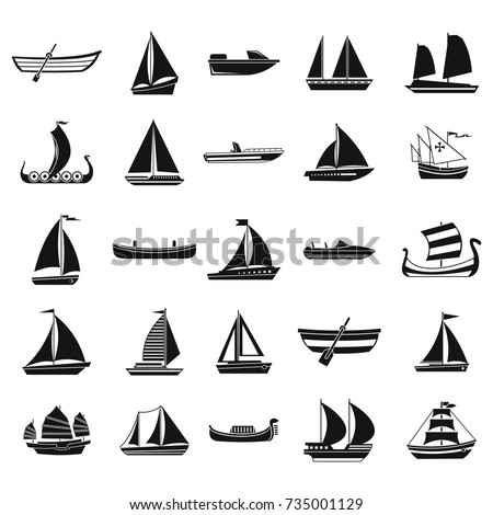 Boat icon set. Simple set of boat vector icons for web design isolated on white background
