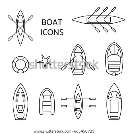 Boat icons outline set. Top view contour pictograms of kayak, vessel, ship, canoe, dinghy, inflatable fishing, cruise, coast guard, oar, passenger boats. Banner, logo design. Vector illustration.