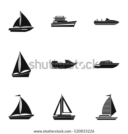boat icons set simple