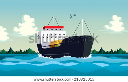 boat in sea or ocean commercial
