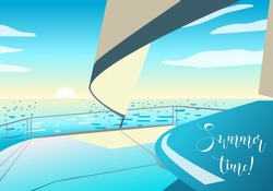 Boat in the ocean. Cruise or sea voyage concept. Vector illustration. Summer time!