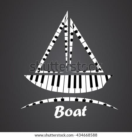 boat logo made from piano