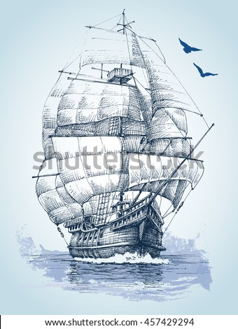 boat on sea drawing sailboat