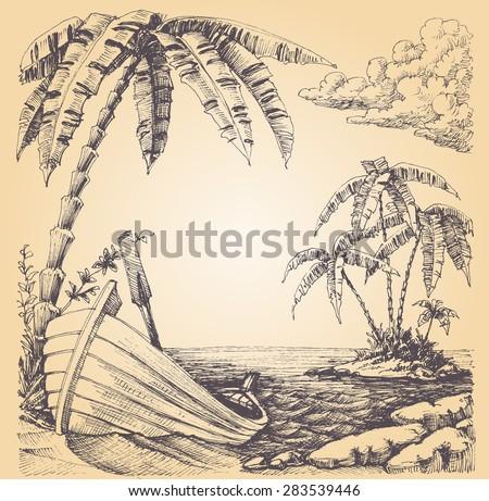 boat on sea shore  tropical