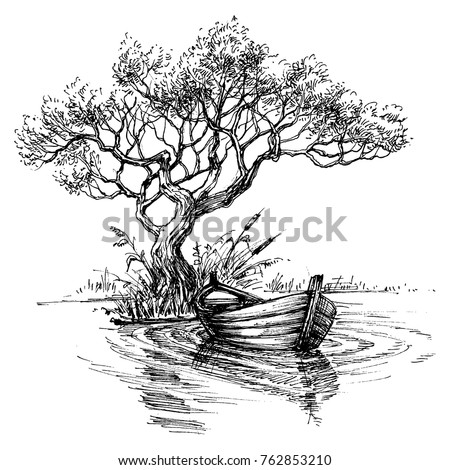 boat on water under the tree