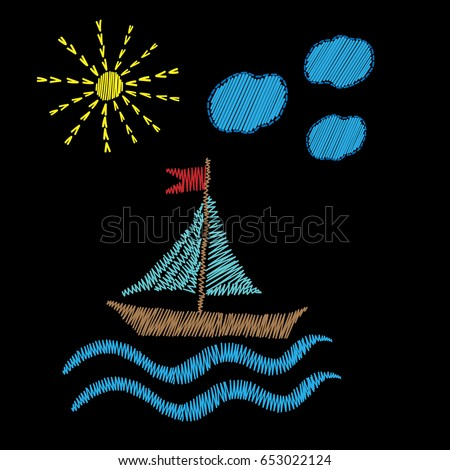 boat on wave with sun