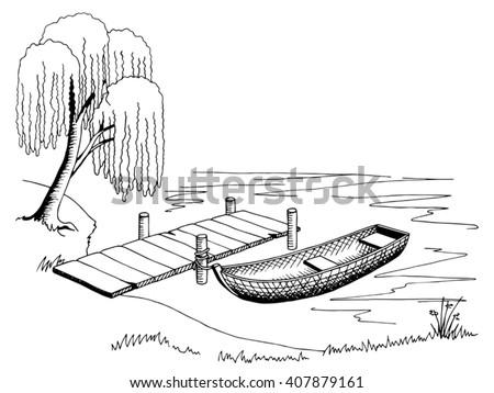 boat pier graphic art black