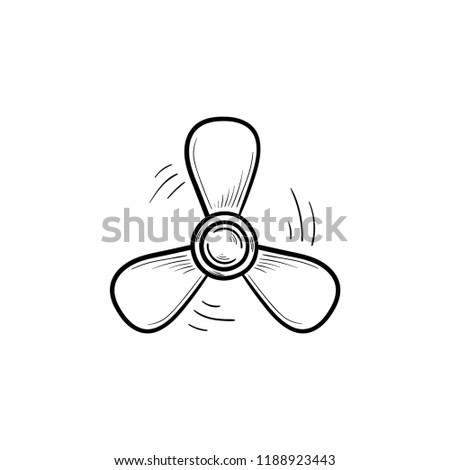 Boat propeller hand drawn outline doodle icon. Ship engine propeller, propeller rotation and marine concept. Vector sketch illustration for print, web, mobile and infographics on white background.