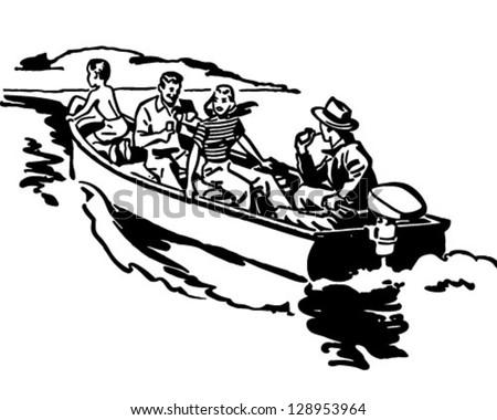 Boat Ride - Retro Clip Art Illustration