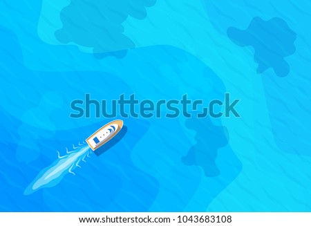 boat sailing in blue sea top aerieal view