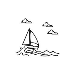 boat sailing waves line illustration