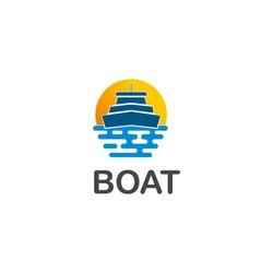Boat sea sunset logo design, wave illustration.