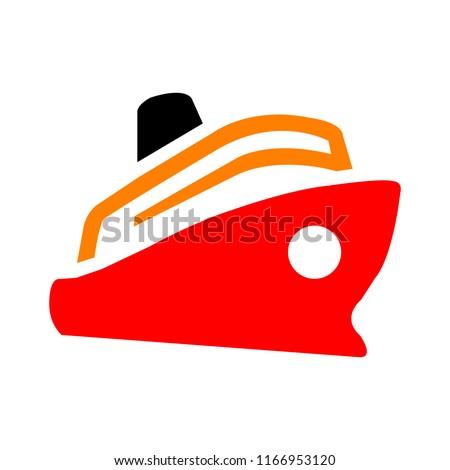boat. ship icon, cruise ship - vector boat illustration, sea travel symbol