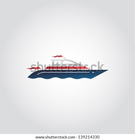 Boat ship on the sea sign web icon vector illustration