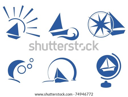 boat simple icon set
