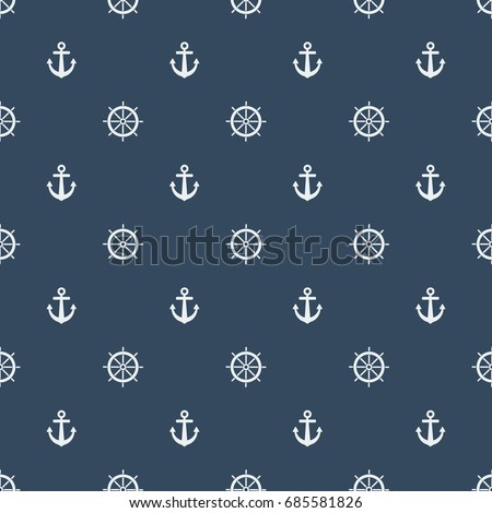 Boat steering wheel with Anchor pattern on navy blue background. Seamless pattern with Boat steering, ship helm, ship steering icon.