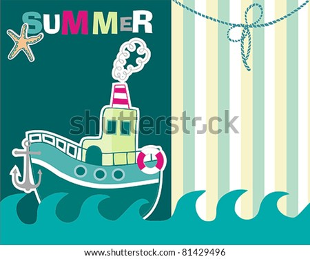 boat summer card