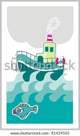 boat summer card