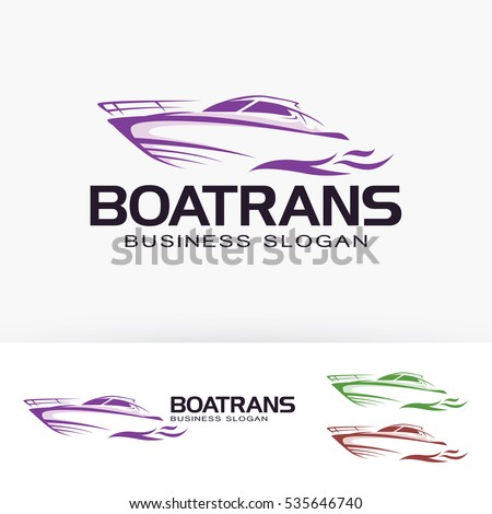 boat trans  vector logo template