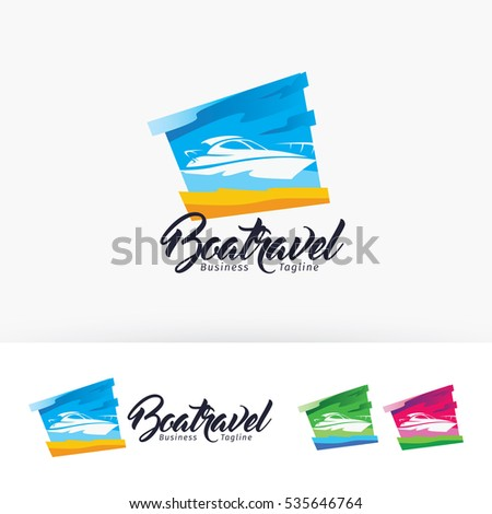 Boat Travel, vector logo template