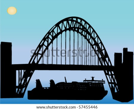 boat under the bridge - vector