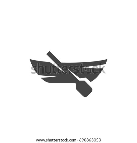 Boat with paddle icon on white background. Boat with paddle vector logo illustration isolated sign symbol. Modern pictogram for web graphics