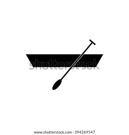 Boat with paddles black simple icon isolated on white