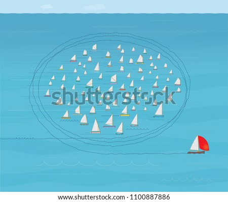 Boat with Red Spinnaker Sail running Rings around the Competition, Business Success Concept, Illustration, Flotilla of Small Sail Boats, Better than the Rest, Anti Clockwise, Looping, Circling, Best
