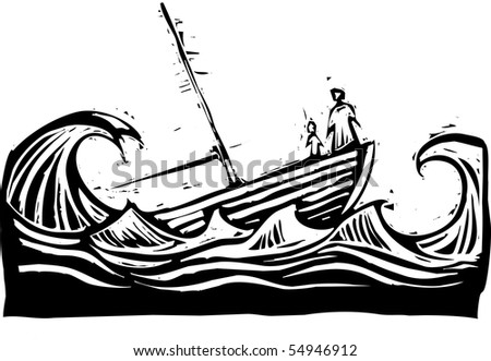 Boat with woman and child sinking in the waves