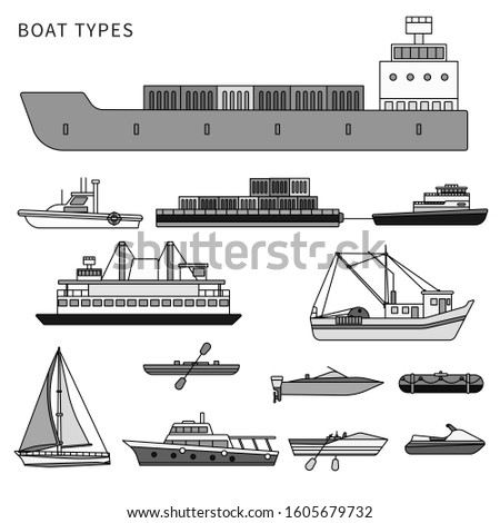 Boats and ships types. Military boat, powerboats, cargo boats, inflatable boat isolated on white. Line design