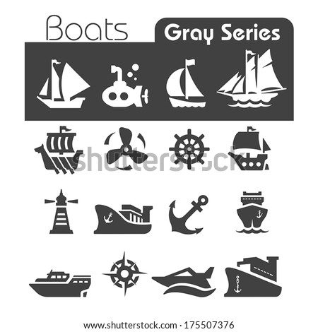 boats icons gray series
