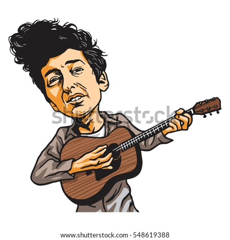 bob dylan cartoon playing