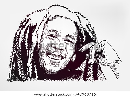 bob marley sketch vector