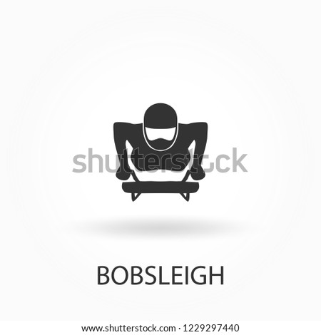Bobsleigh championship banner. Winter sports icon. Abstract sportsmen silhouettes. Vector illustration of bobsled team in action for your design