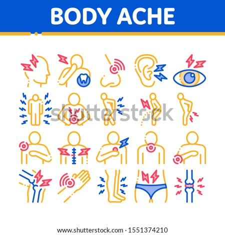 Body Ache Collection Elements Icons Set Vector Thin Line. Headache And Toothache, Backache And Arthritis, Stomach And Muscle Ache, Eye And Foot Pain Linear Pictograms. Color Contour Illustrations