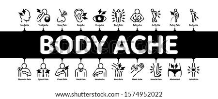 Body Ache Minimal Infographic Web Banner Vector. Headache And Toothache, Backache And Arthritis, Stomach And Muscle Ache, Eye And Foot Pain Illustrations