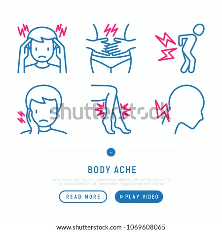 Body aches thin line icons set: migraine, chest pain, menstrual, joint, arthritis, rheumatism, toothache. Modern vector illustration.