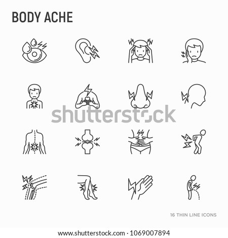 Body aches thin line icons set: migraine, toothache, pain in eyes, ear, nose, when urinating, chest pain, menstrual, joint, arthritis, rheumatism. Modern vector illustration.