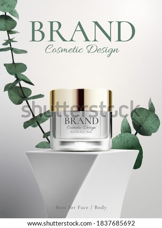 Body and face cosmetic product on a abstract design stand with a plant on white background in 3d illustration