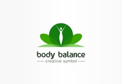 Body balance, nutrition, beauty girl silhouette creative symbol concept. Healthcare, spa abstract business logo idea. Slim woman body icon. Corporate identity logotype, company graphic design tamplate