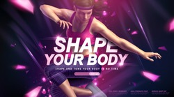 Body building class with dancing woman in 3d illustration, sparkling effect