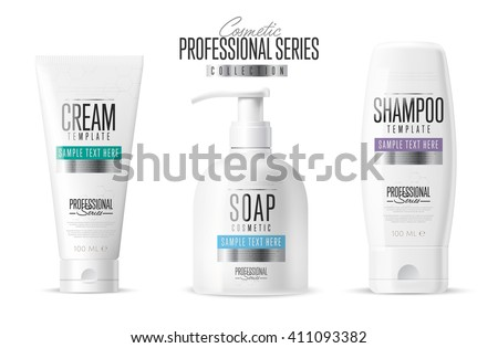Body care professional series cosmetic brand concept. Tube cream, soap bottle, shampoo packaging.