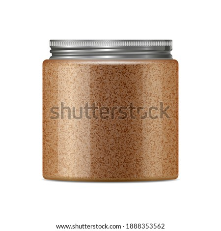 Body coffee sugar scrub jar template. Realistic round container from transparent plastic with trendy metal aluminium cap. Skin care cosmetic product mockup isolated on white background. Stock photo ©