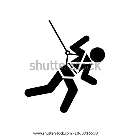 Body Harness And Lifeline Required Black Icon, Vector Illustration, Isolate On White Background Label. EPS10 Stockfoto ©